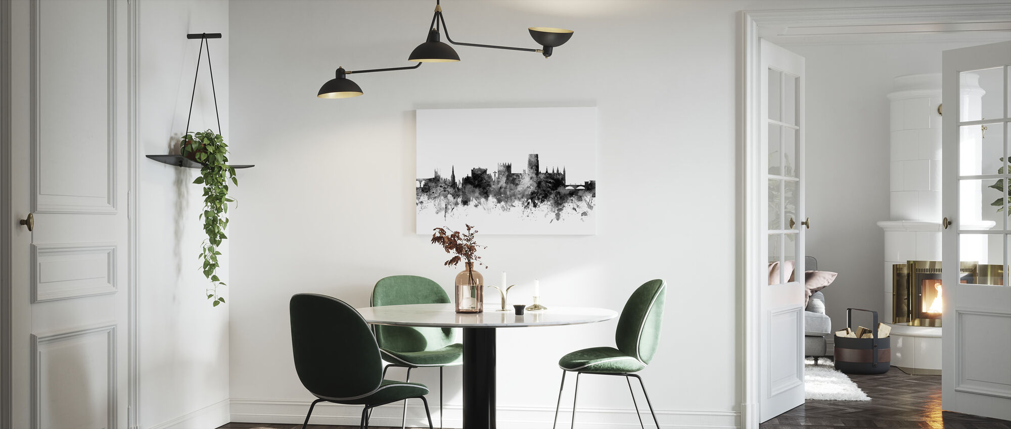 Durham UK Skyline Black - Canvas print - Kitchen