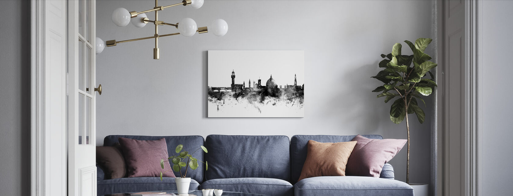 Florence Italy Skyline Black - Canvas print - Living Room