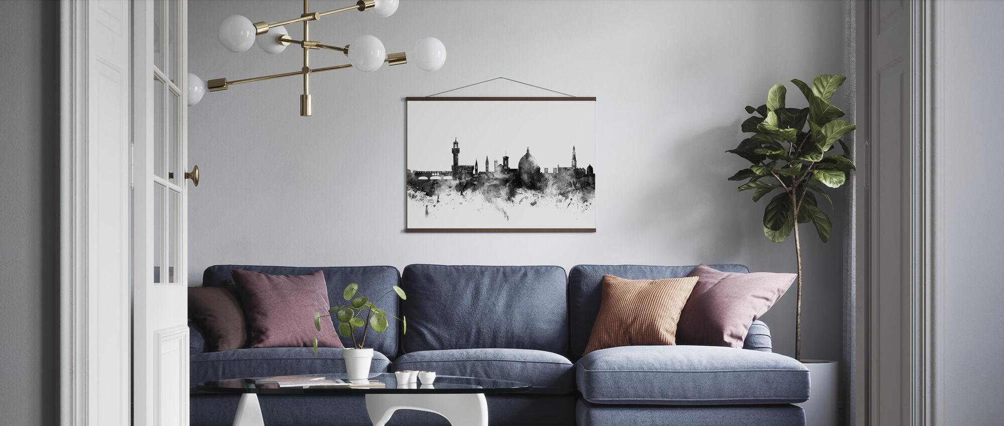 Florens Italien Skyline Svart - Poster - Vardagsrum