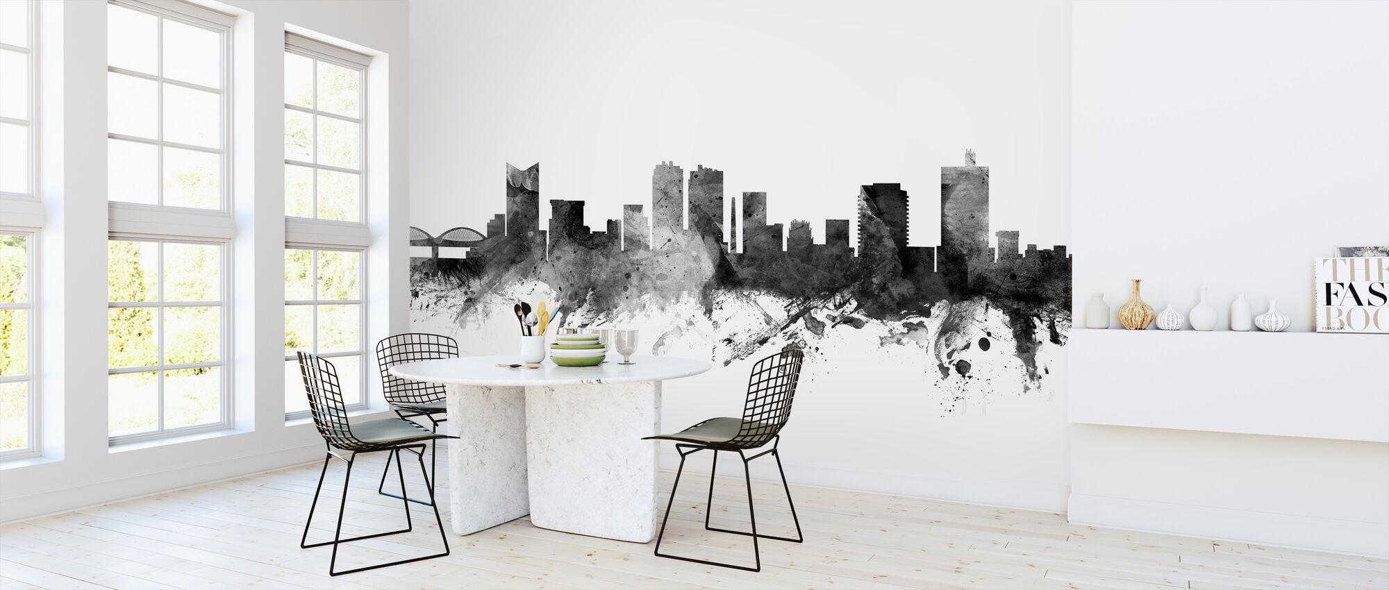 Fort Worth Texas Skyline Black - Wallpaper - Kitchen