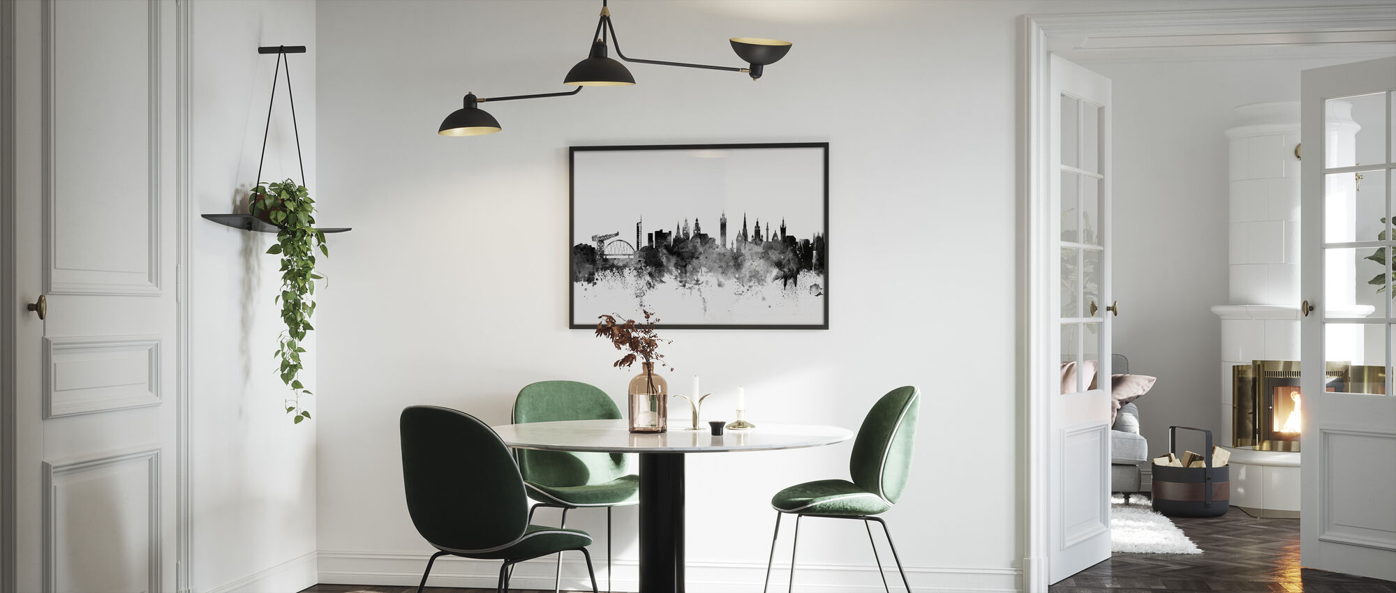 Glasgow Scotland Skyline Black - Framed print - Kitchen