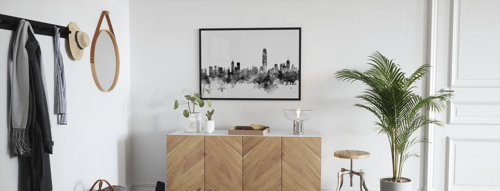 Hong Kong Skyline Musta - Kehystetty kuva - Aula
