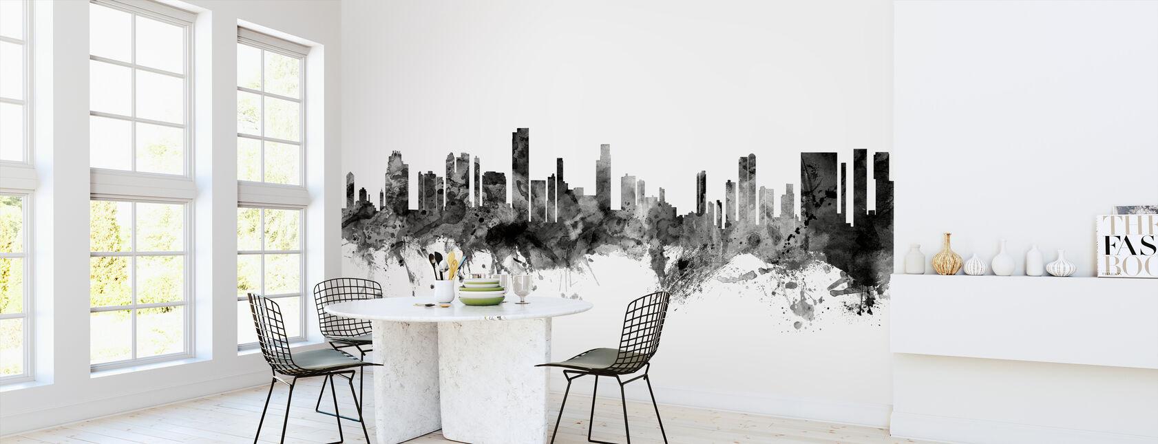 Honolulu Hawaii Skyline Black - Wallpaper - Kitchen