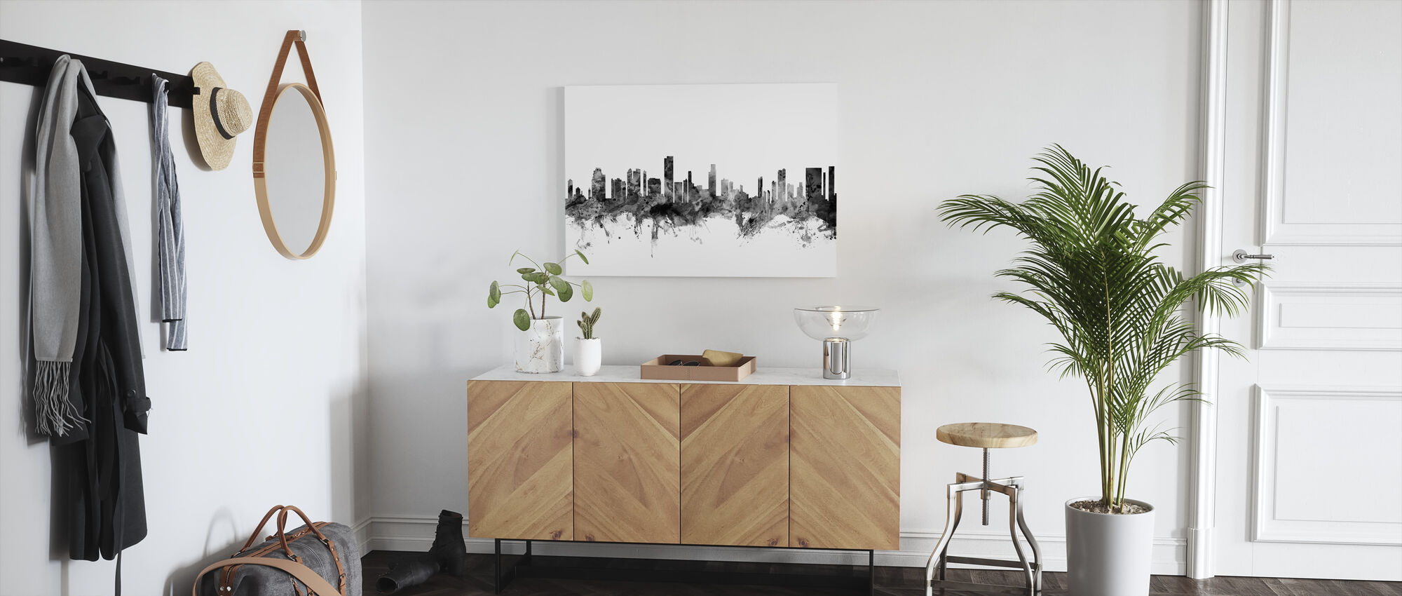 Honolulu Hawaii Skyline Zwart - Canvas print - Gang