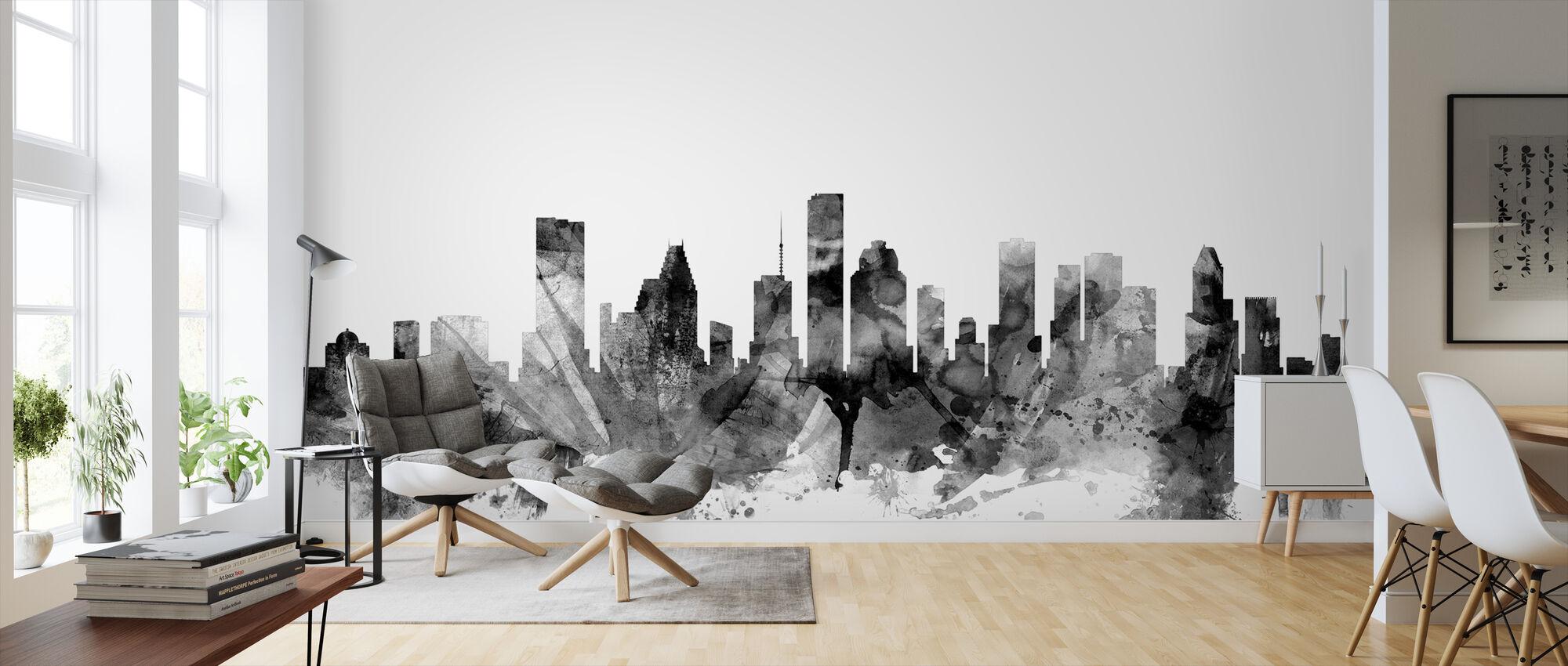 Houston Texas Skyline Black - Wallpaper - Living Room