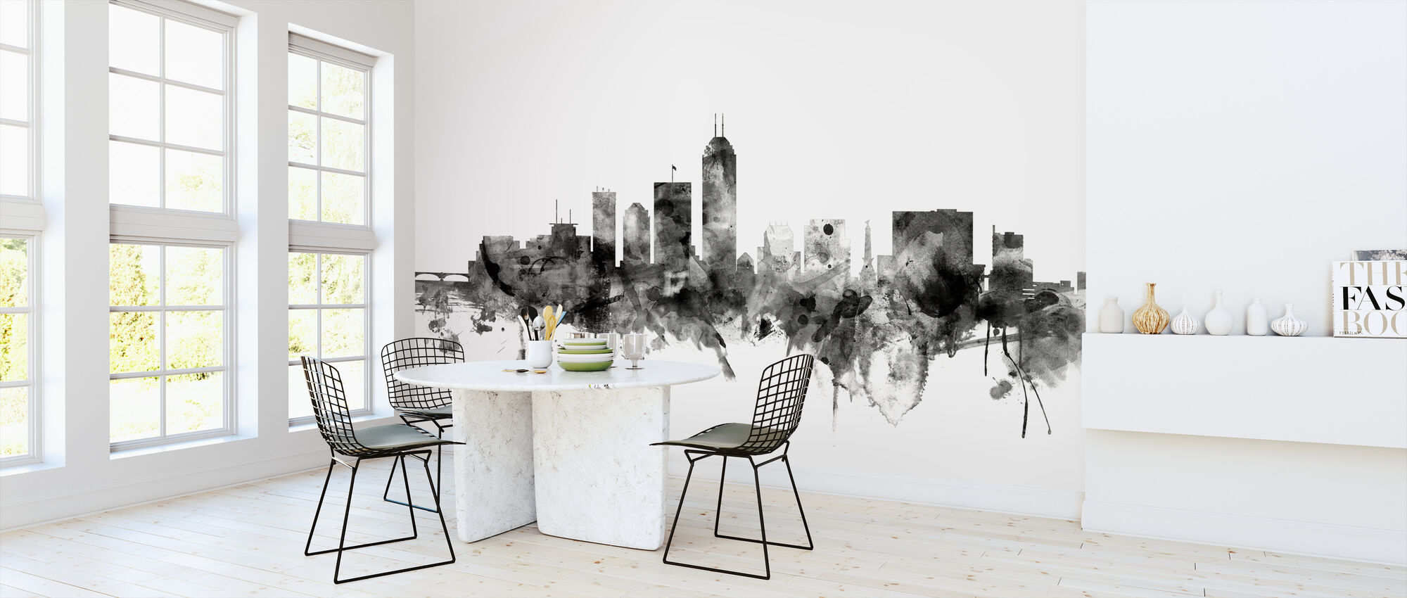 Indianapolis Indiana Skyline Black - Wallpaper - Kitchen