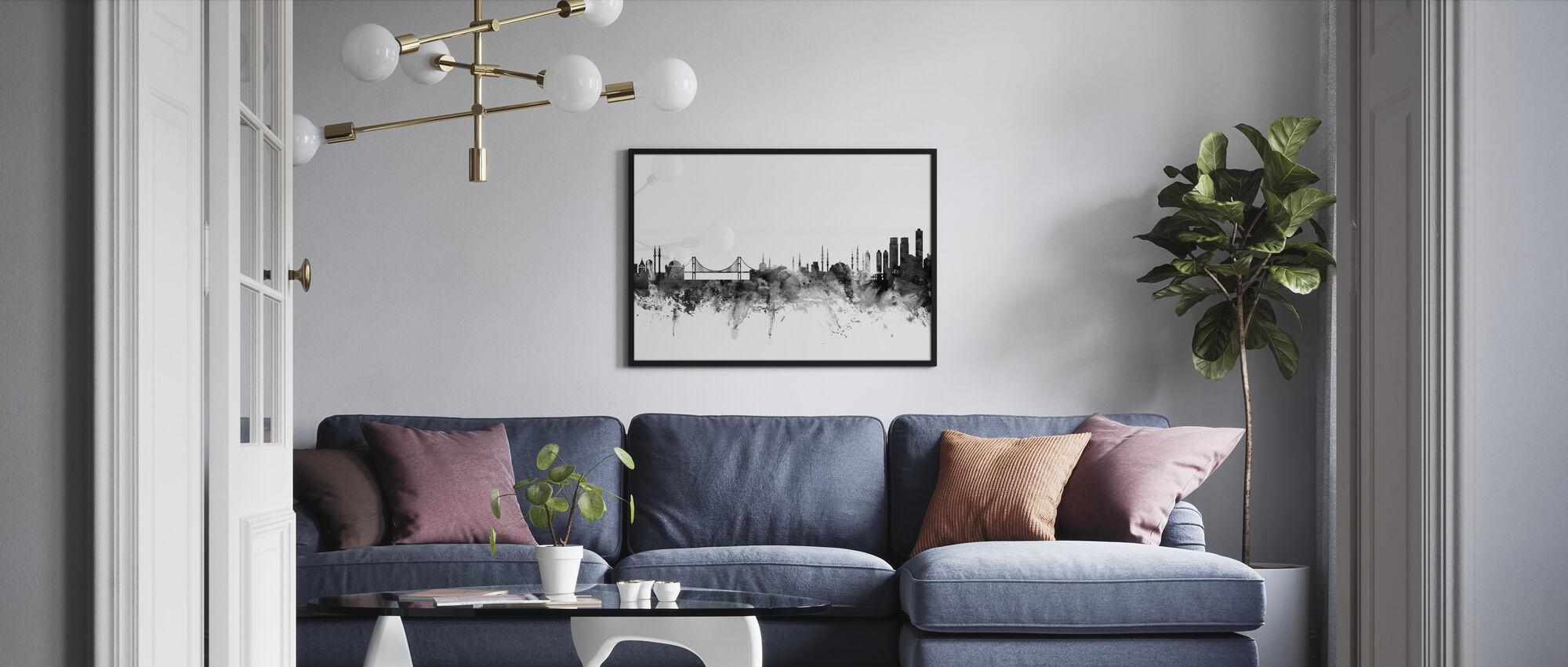 Istanbul Skyline Svart - Innrammet bilde - Stue