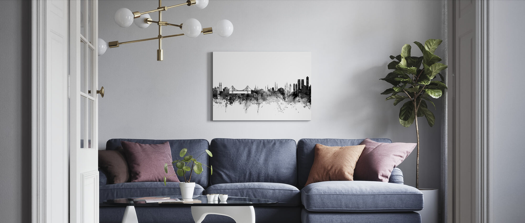 Istanbul Skyline Black - Canvas print - Living Room