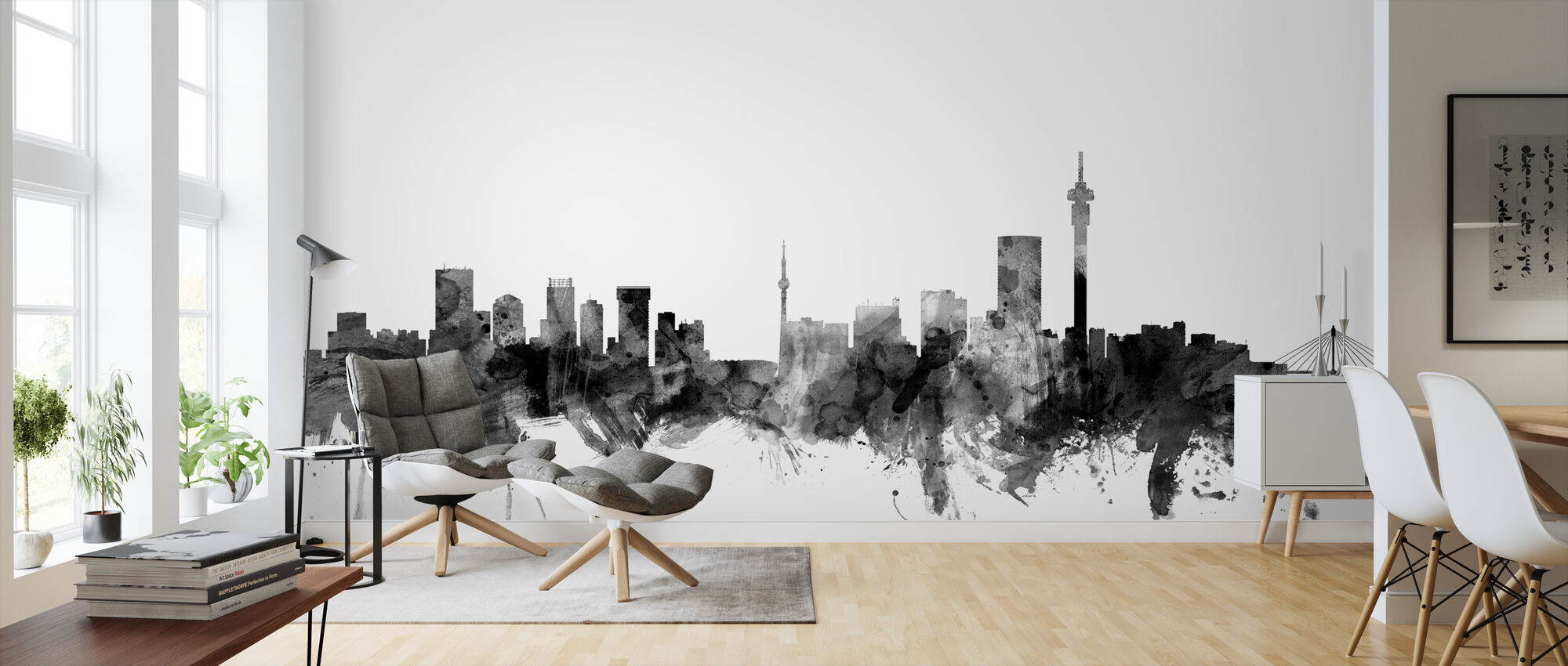 Johannesburg South Africa Skyline Black - Wallpaper - Living Room