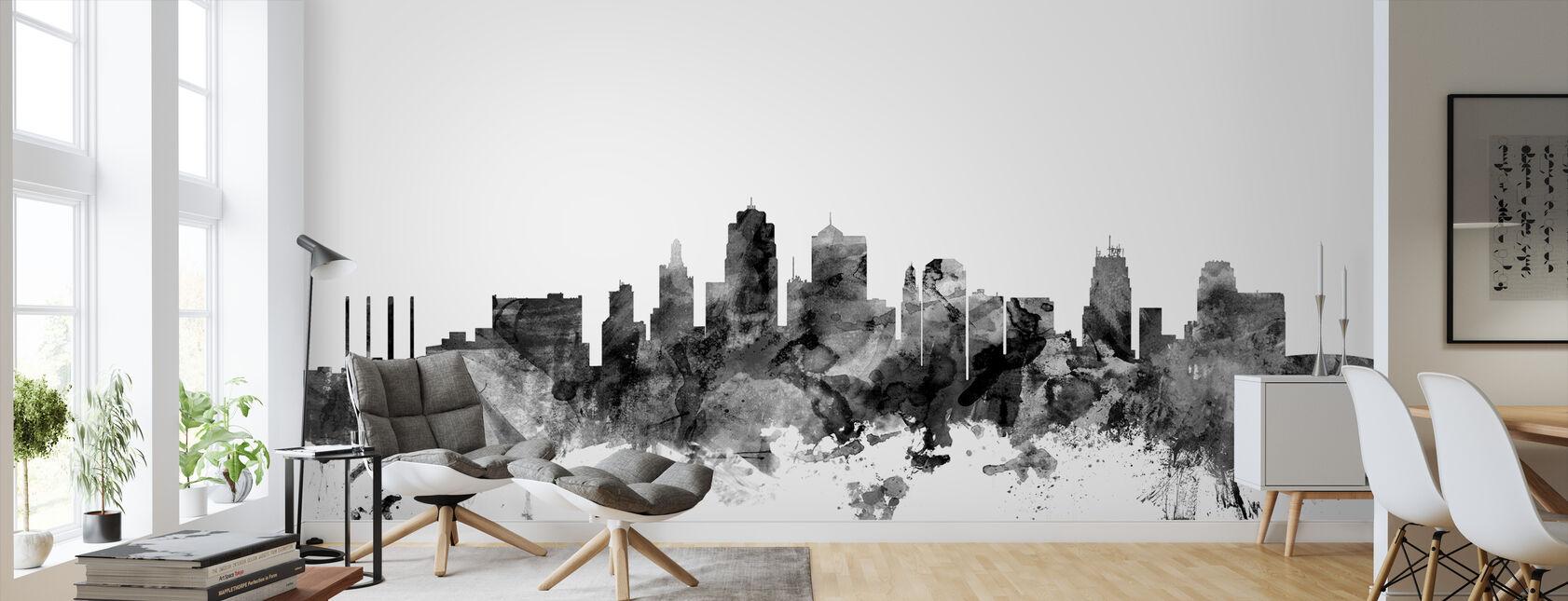 Kansas City Skyline Black - Wallpaper - Living Room