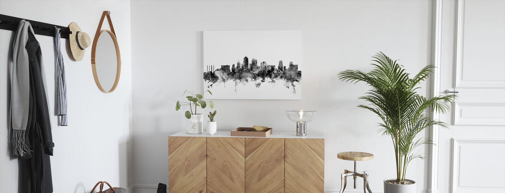 Kansas City Skyline Black - Canvas print - Hallway