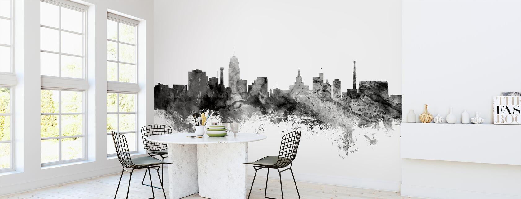 Lansing Michigan Skyline Black - Wallpaper - Kitchen