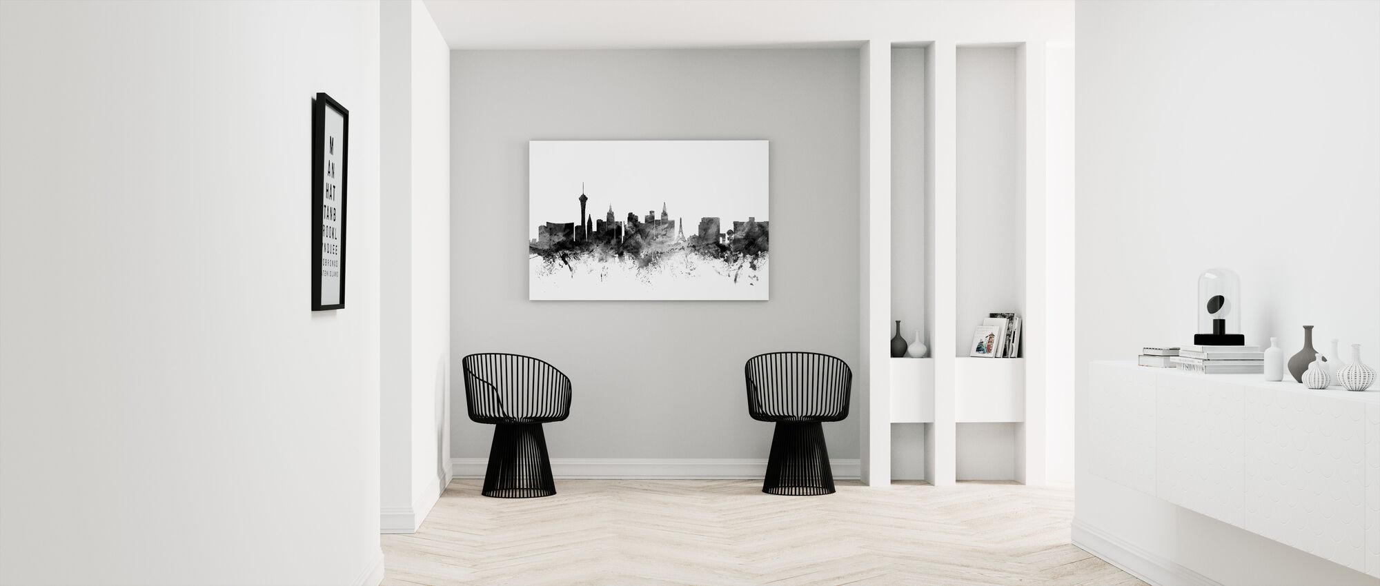 Las Vegas Skyline Black - Canvas print - Hallway