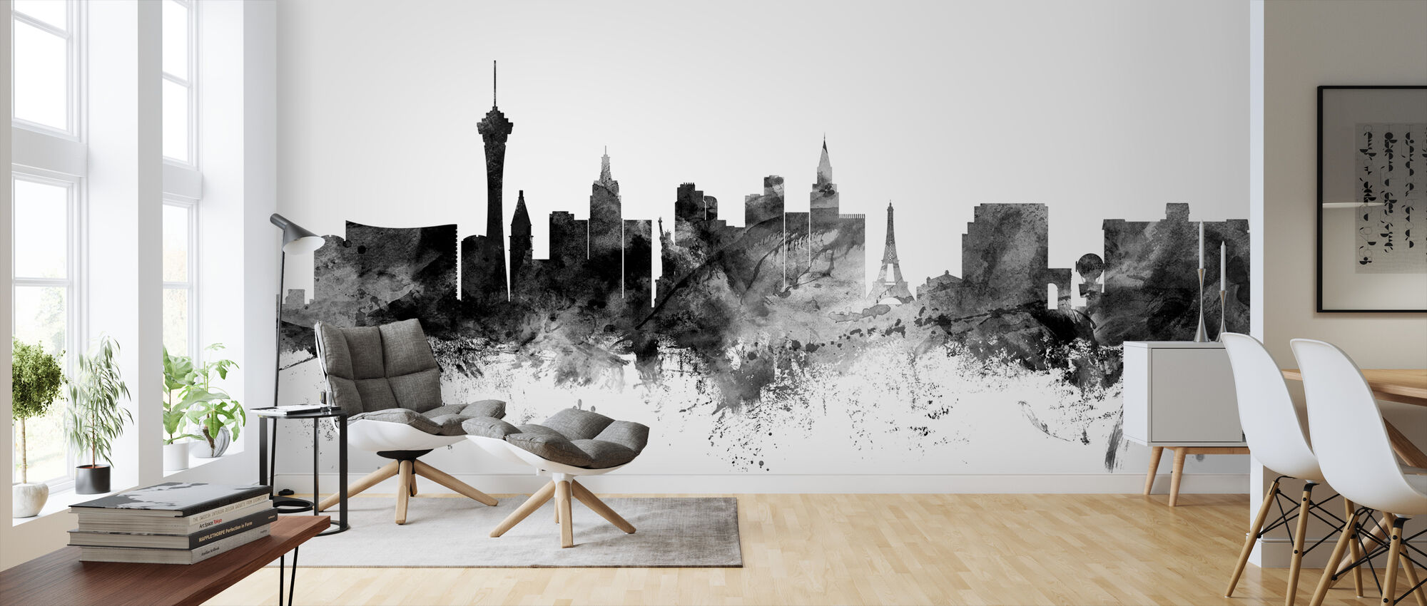 Las Vegas Skyline Black - Wallpaper - Living Room