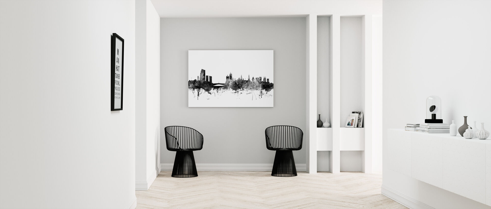 Leeds UK Skyline Black - Canvas print - Hallway