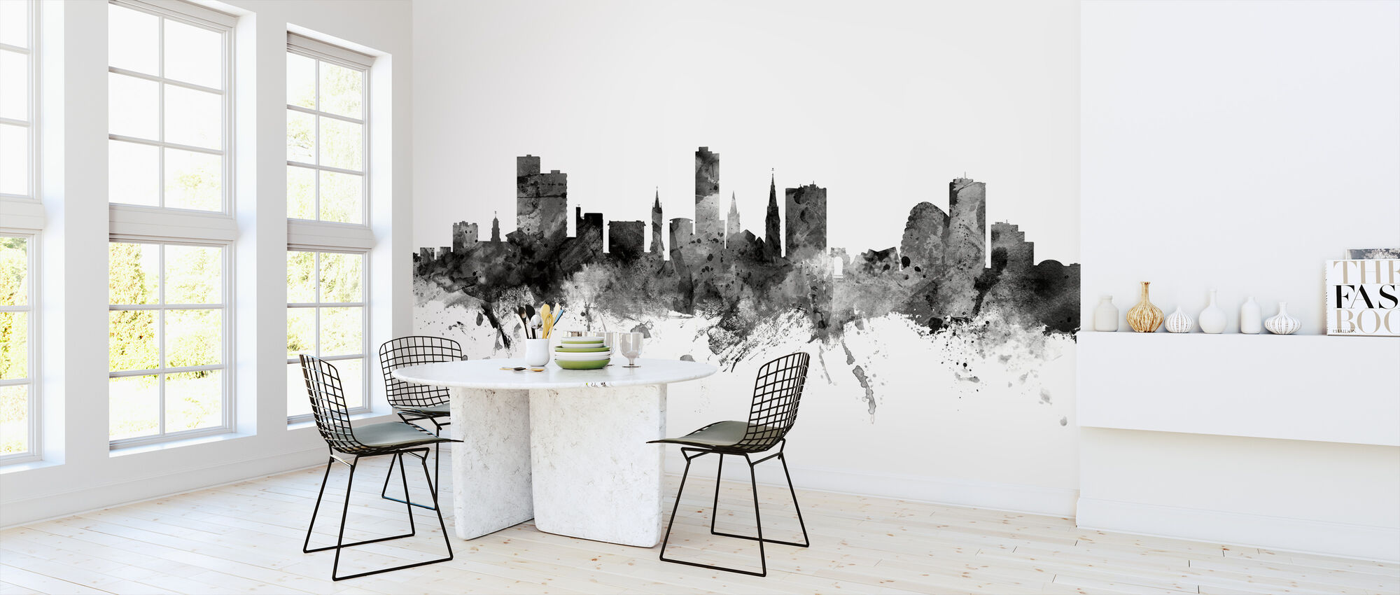 Leicester UK Skyline Black - Wallpaper - Kitchen
