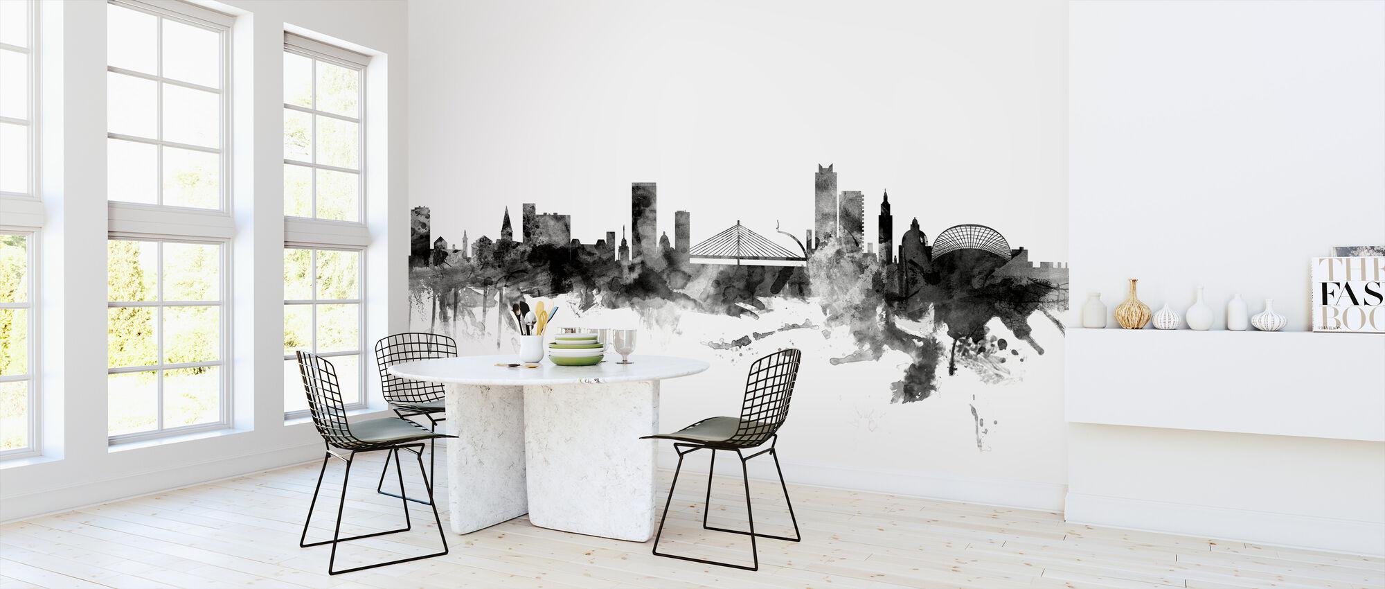 Liege Belgium Skyline Black - Wallpaper - Kitchen