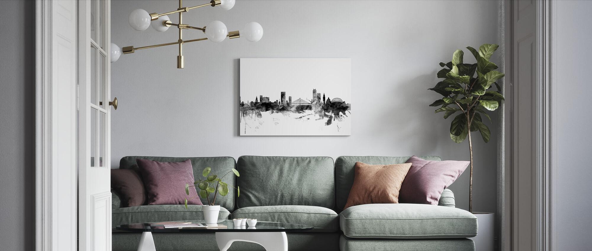 Liege Belgien Skyline Sort - Billede på lærred - Stue