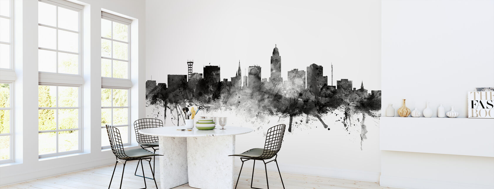 Lincoln Nebraska Skyline Zwart - Behang - Keuken