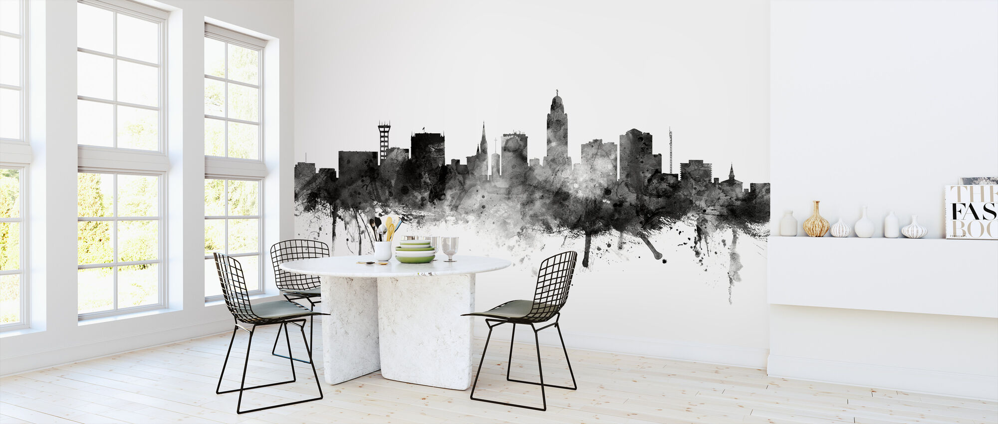 Lincoln Nebraska Skyline Black - Wallpaper - Kitchen