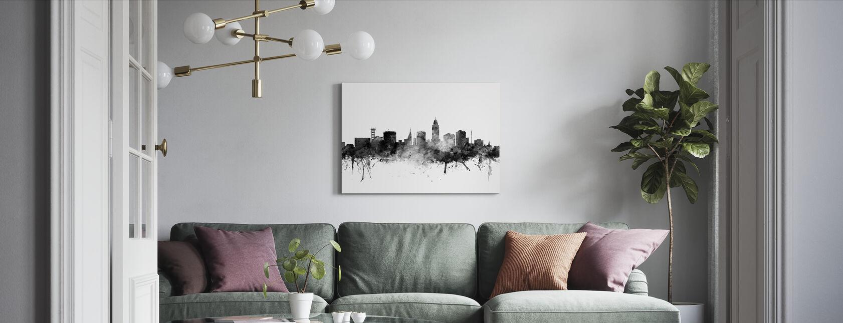 Lincoln Nebraska Skyline Black - Canvas print - Living Room