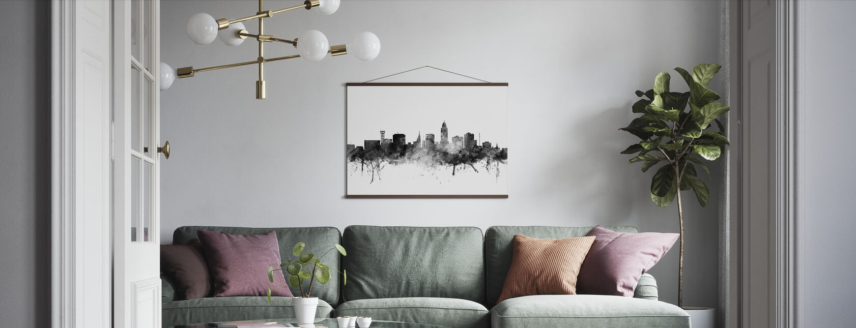 Lincoln Nebraska Skyline Black - Poster - Living Room
