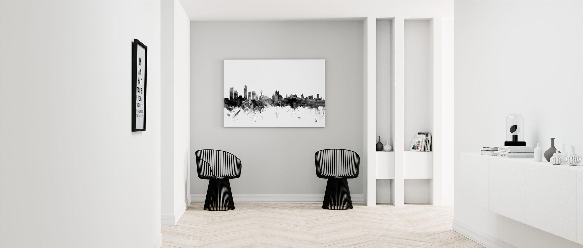 Liverpool UK Skyline Black - Canvas print - Hallway