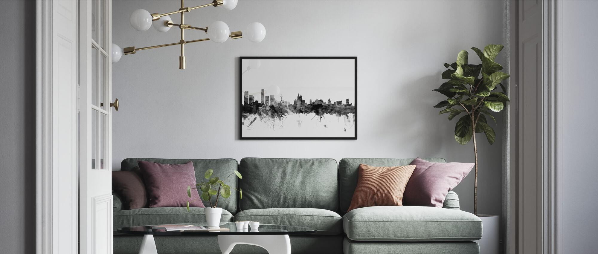 Liverpool UK Skyline svart - Innrammet bilde - Stue