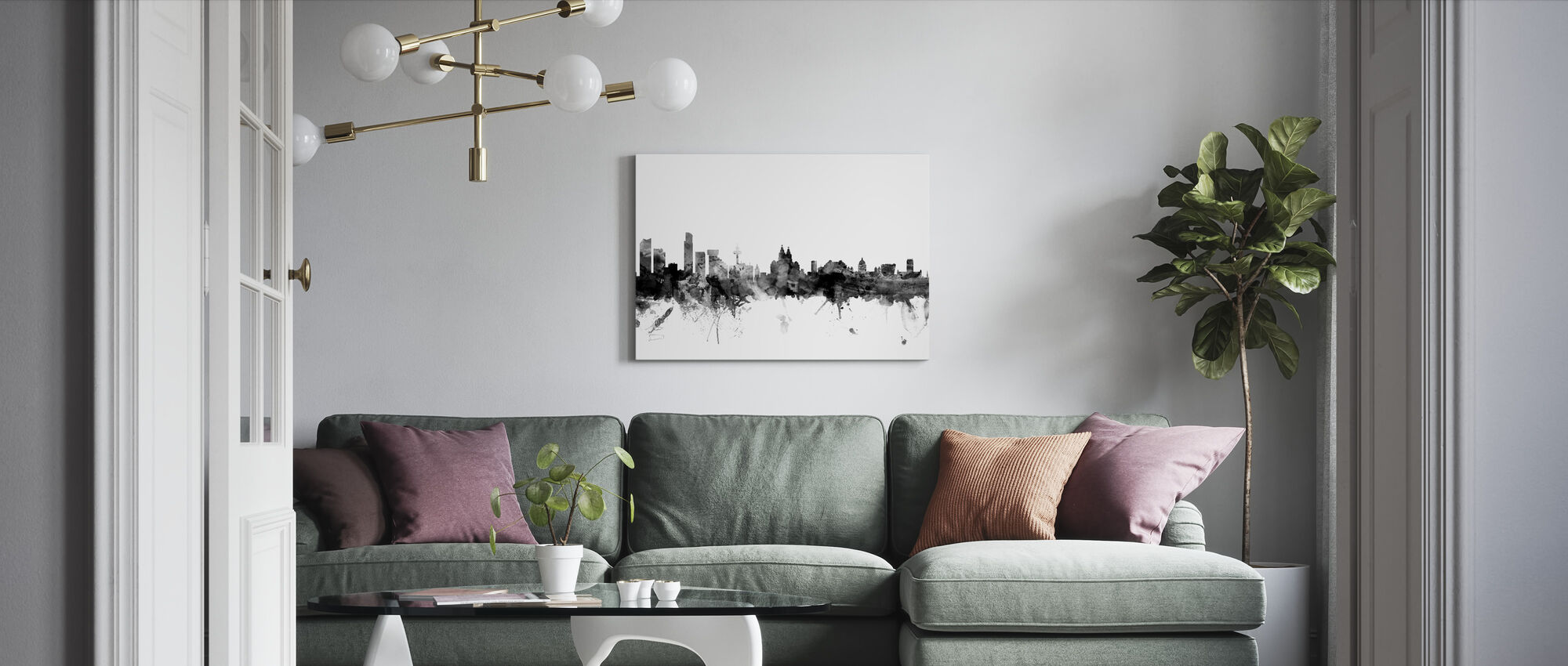 Liverpool UK Skyline Black - Canvas print - Living Room
