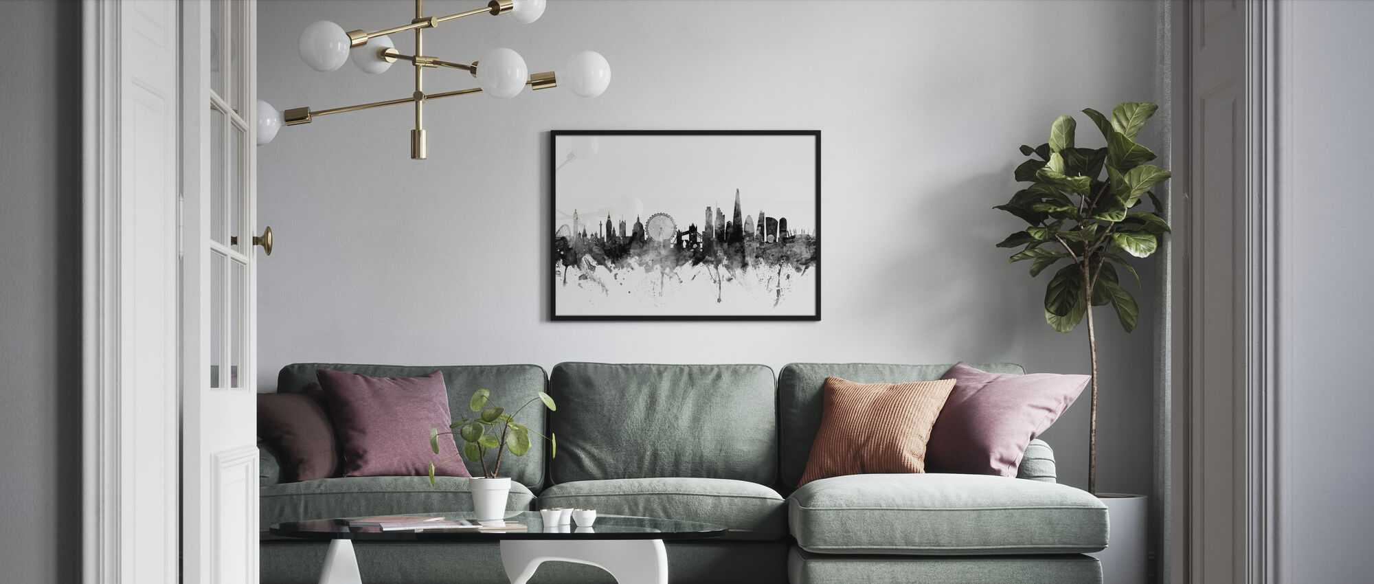 London UK Skyline Black - Framed print - Living Room