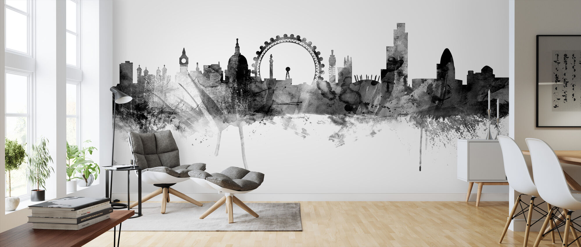 London Skyline Black - Wallpaper - Living Room
