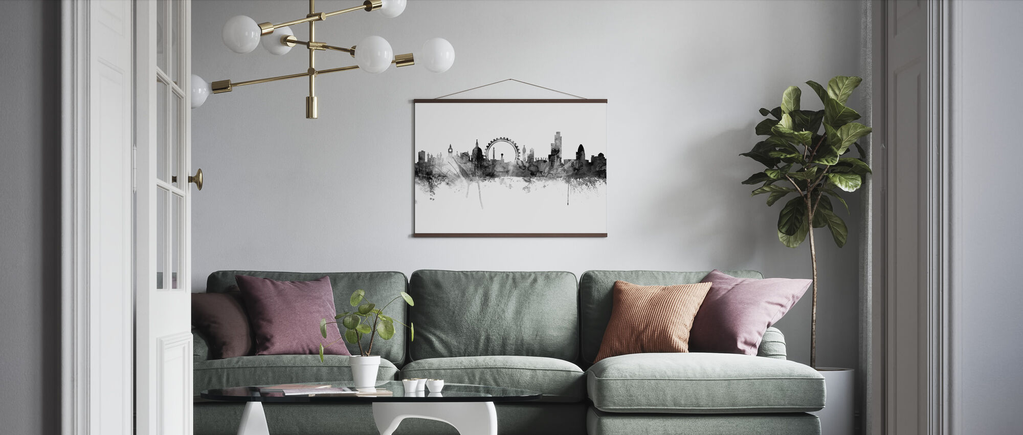 London Skyline Black - Poster - Living Room