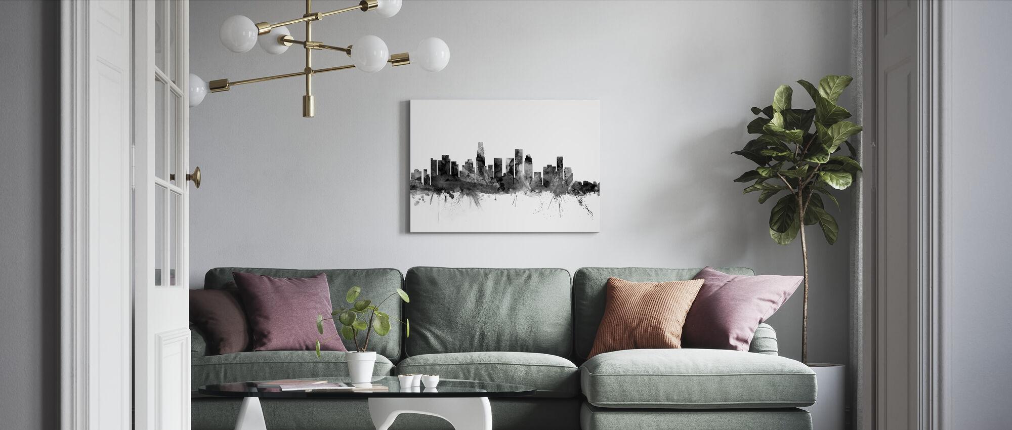Los Angeles California Skyline Sort - Billede på lærred - Stue