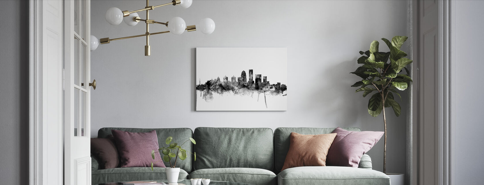 Louisville Kentucky Skyline Zwart - Canvas print - Woonkamer