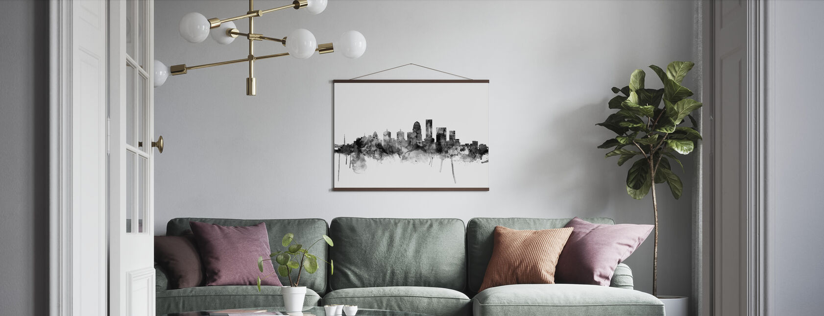 Louisville Kentucky Skyline Black - Poster - Living Room
