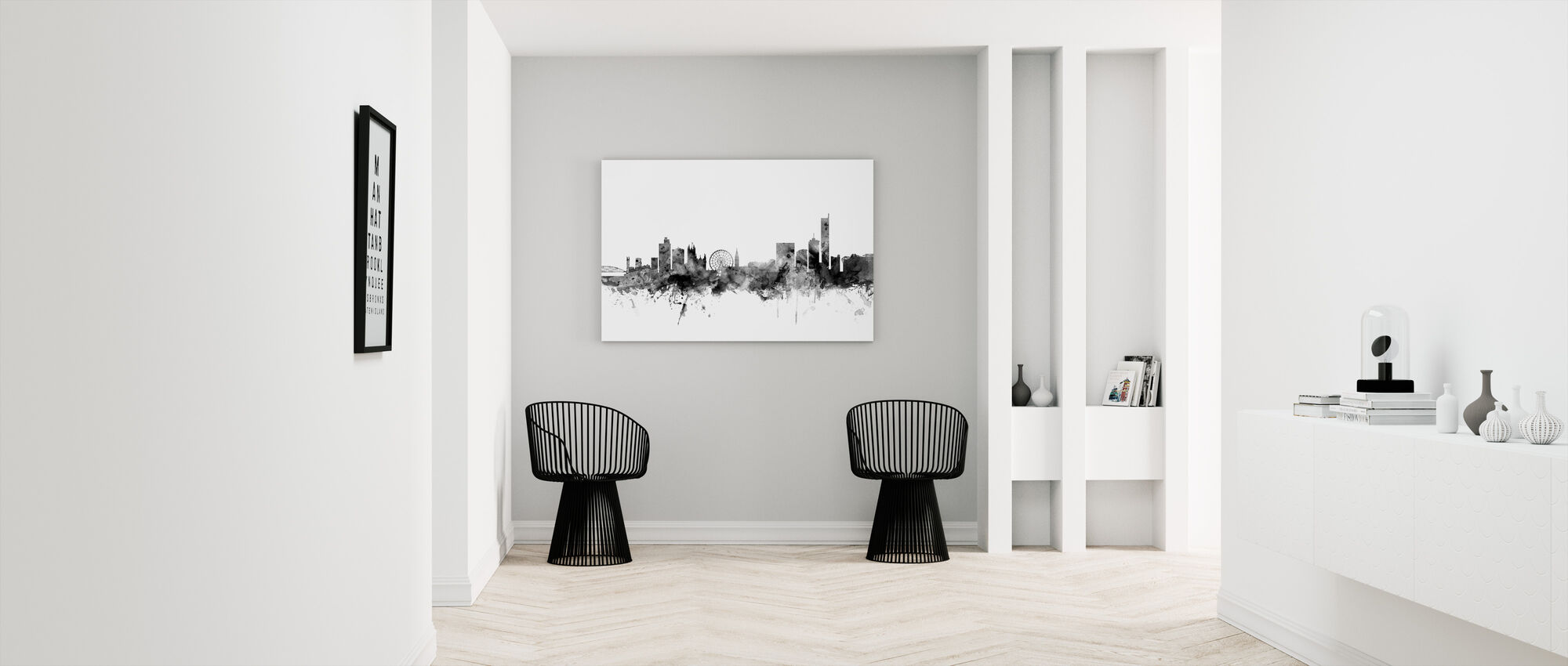Manchester UK Skyline Black - Canvas print - Hallway