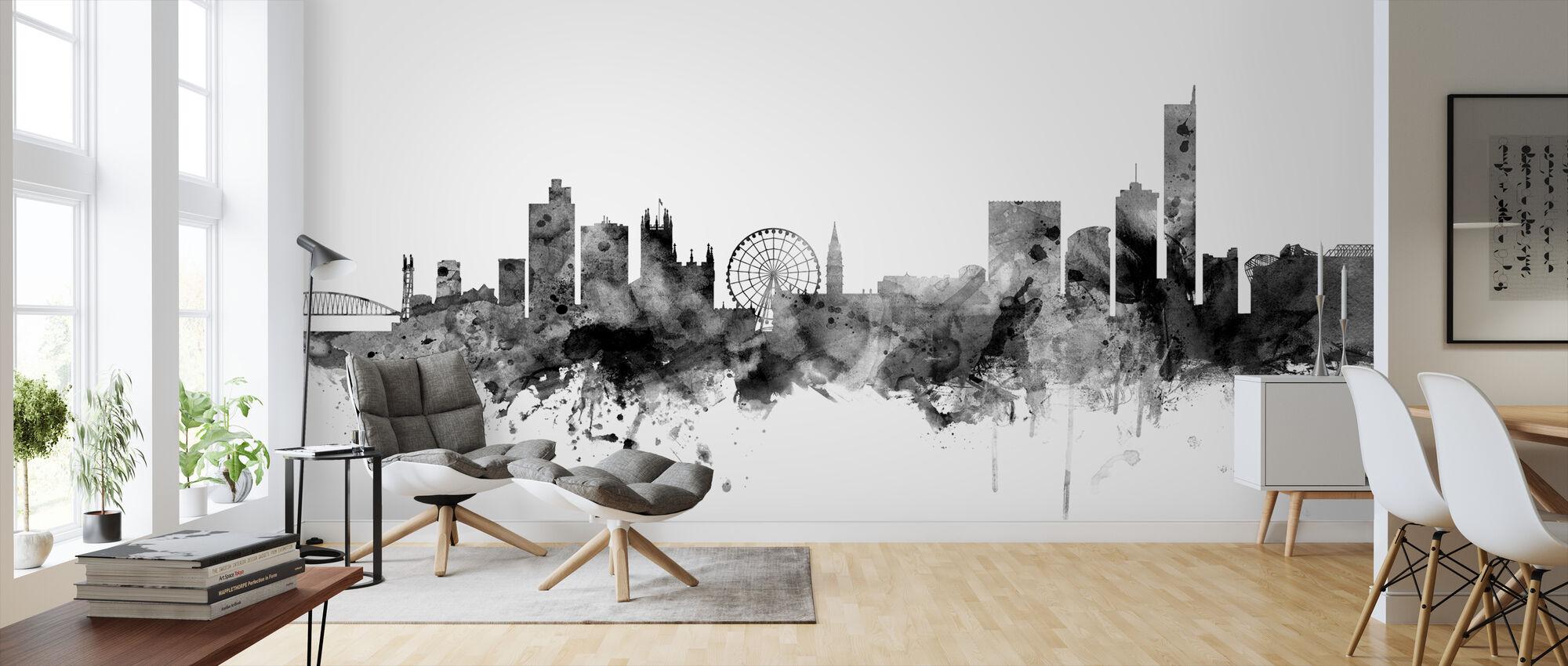 Manchester UK Skyline Black - Wallpaper - Living Room