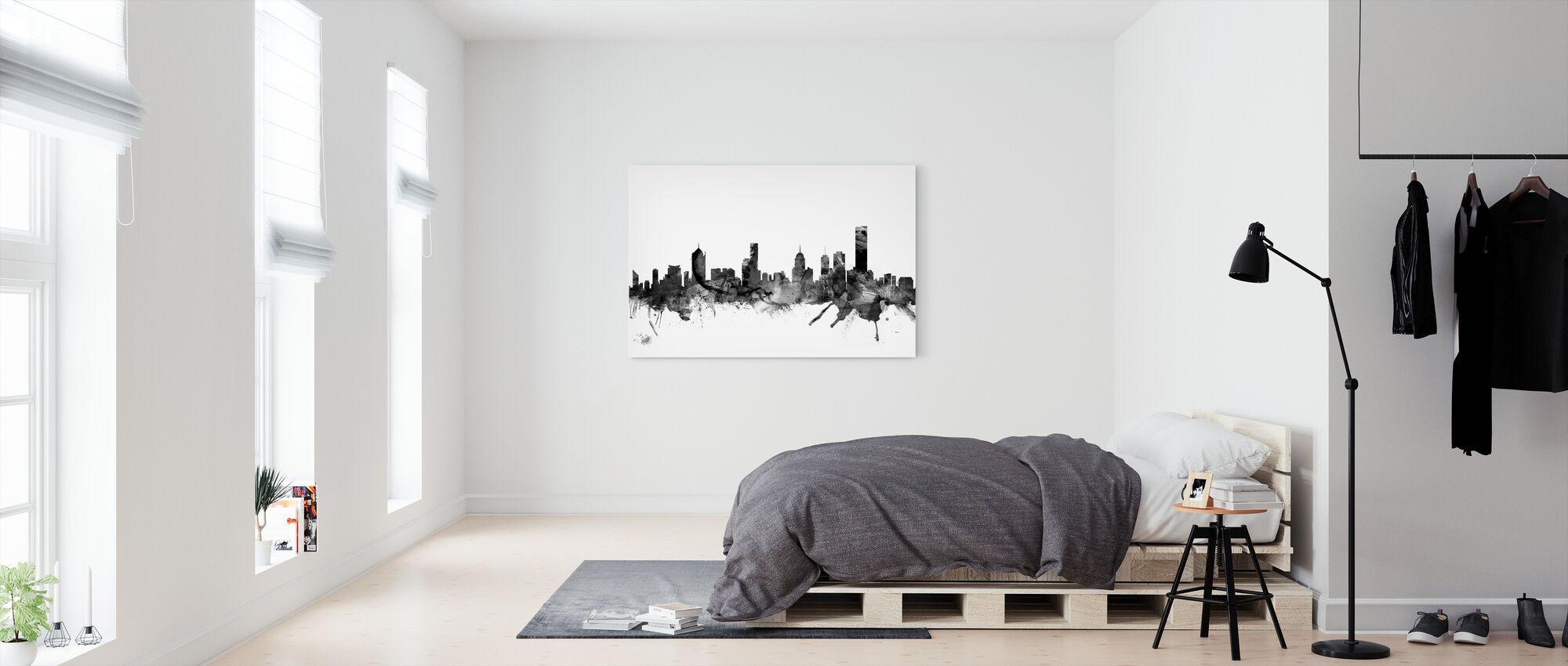 Melbourne Skyline Zwart - Canvas print - Slaapkamer