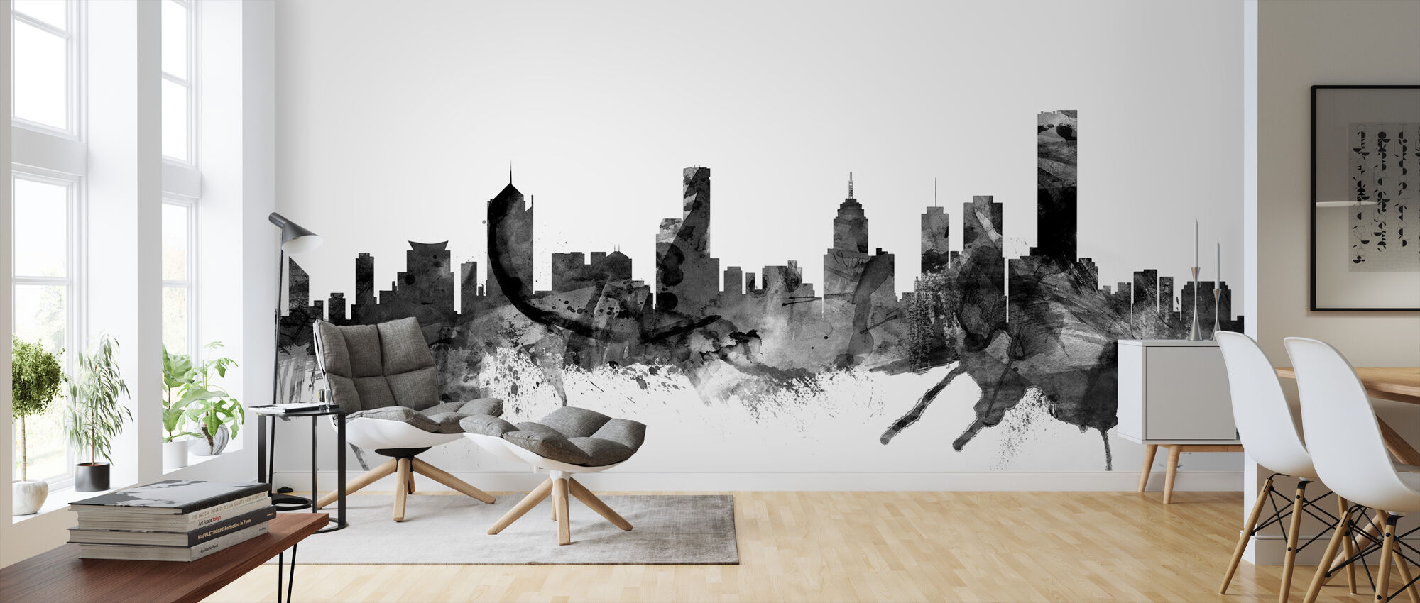 Melbourne Skyline Black - Wallpaper - Living Room