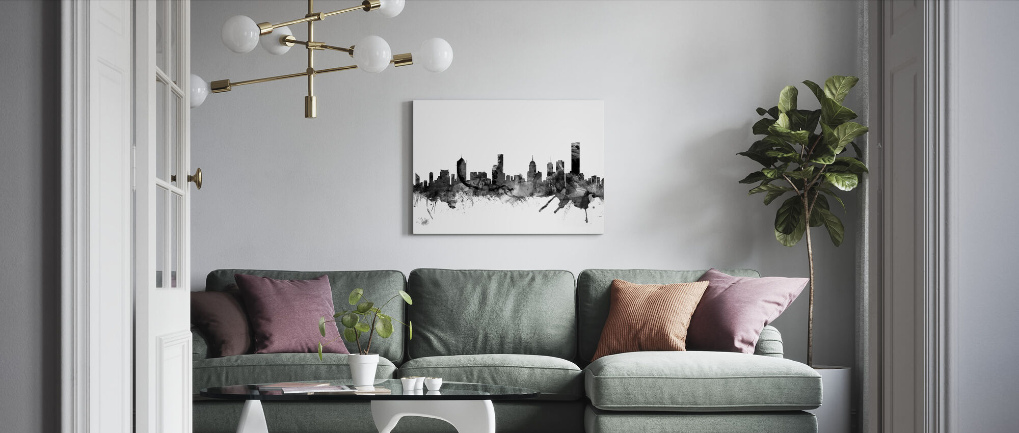 Melbourne Skyline Black - Canvas print - Living Room