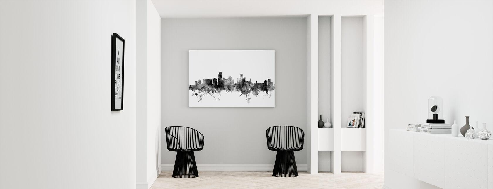 Miami Florida Skyline Zwart - Canvas print - Gang
