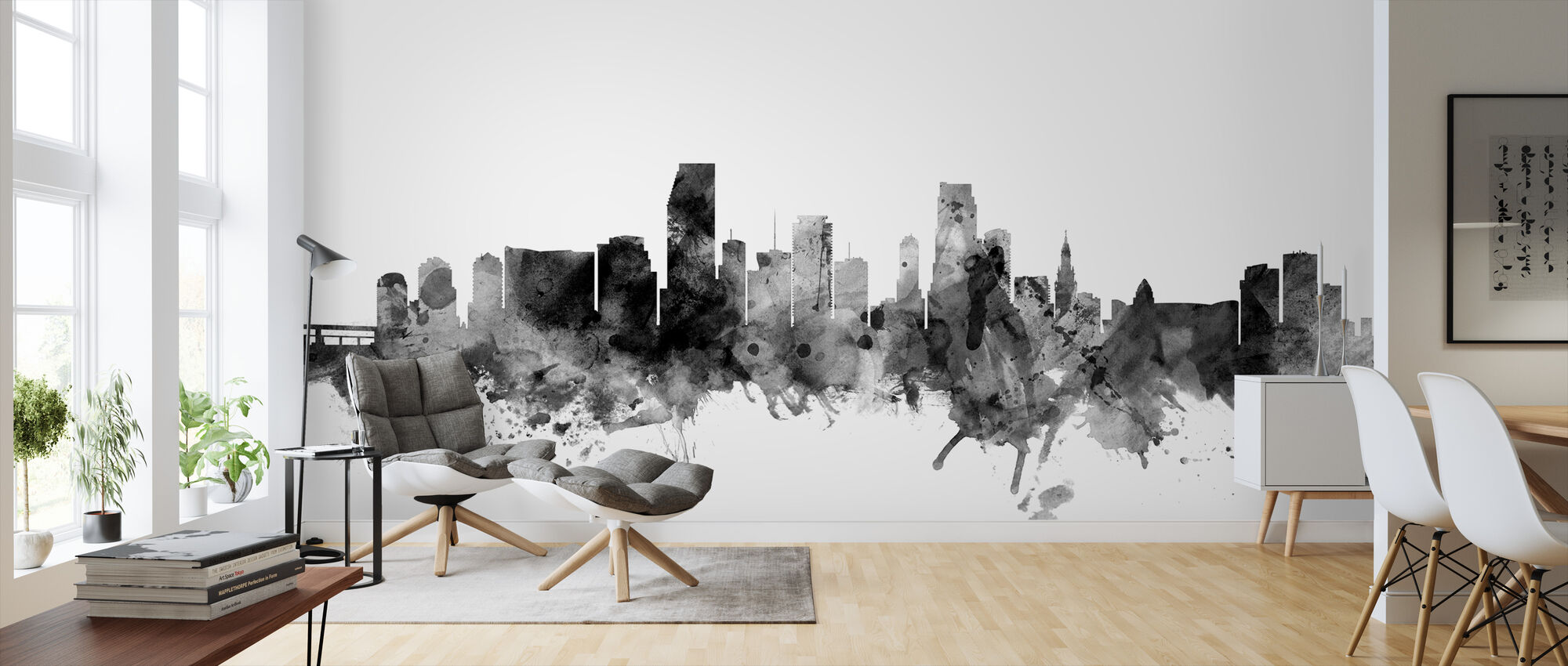 Miami Florida Skyline Black - Wallpaper - Living Room