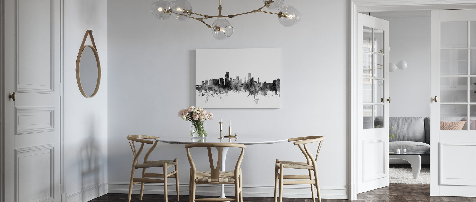 Miami Florida Skyline Zwart - Canvas print - Keuken
