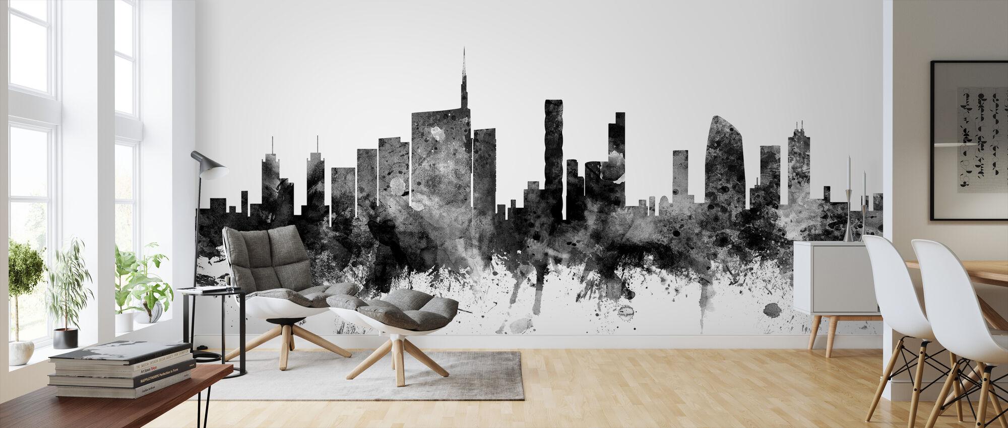 Milan Skyline Black - Wallpaper - Living Room
