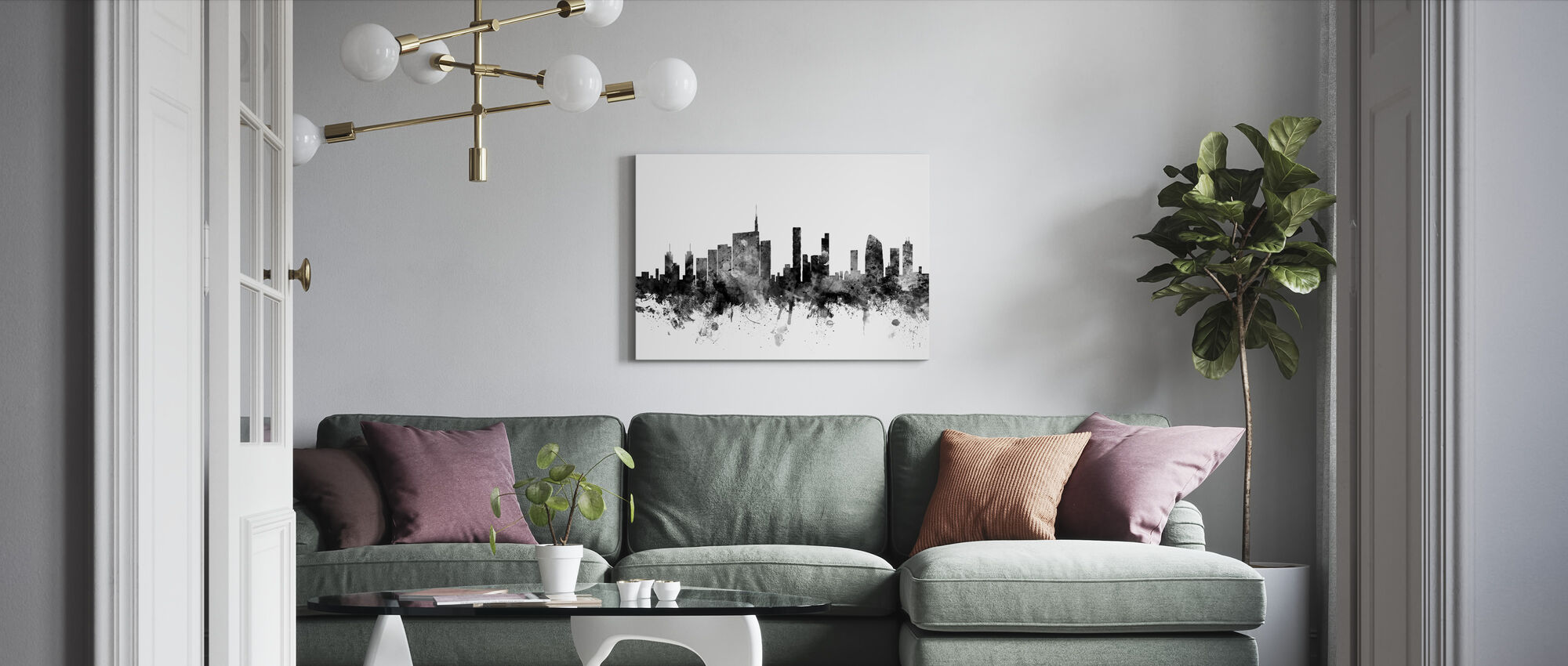 Milan Skyline Svart - Canvastavla - Vardagsrum