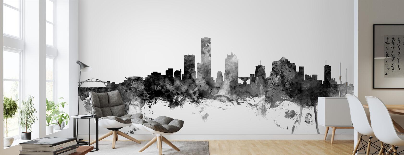 Milwaukee Wisconsin Skyline Black - Wallpaper - Living Room