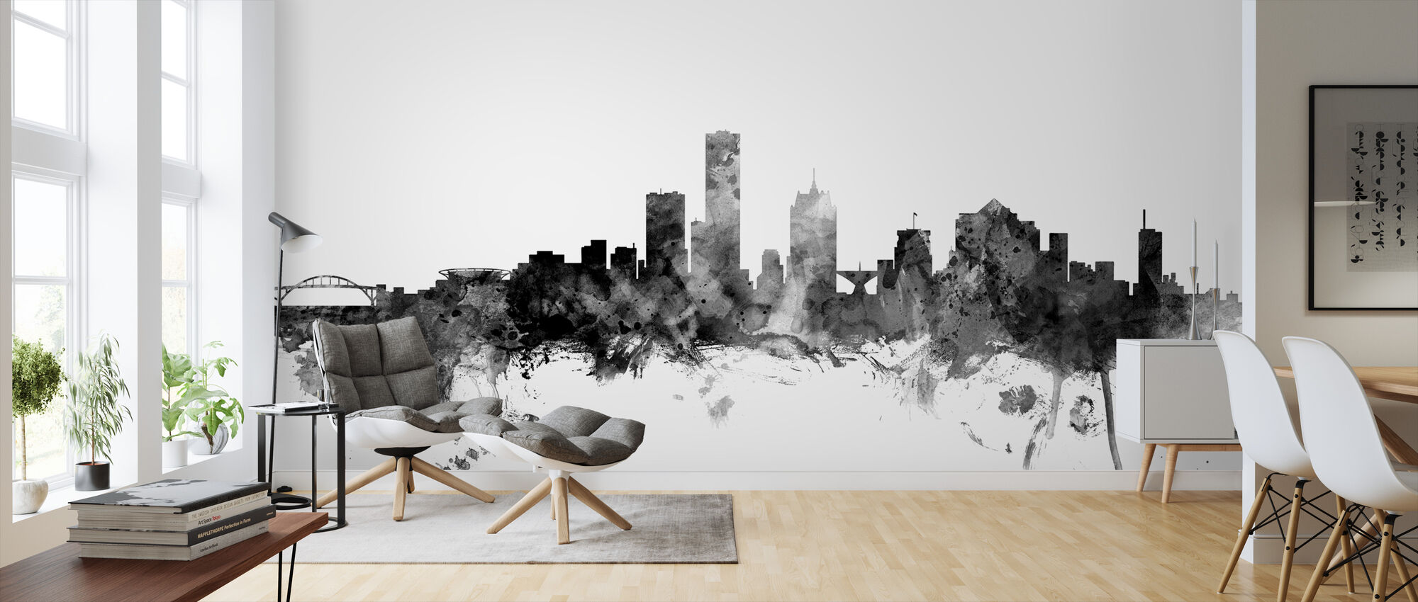Milwaukee Wisconsin Skyline Black - Wallpaper - Living Room