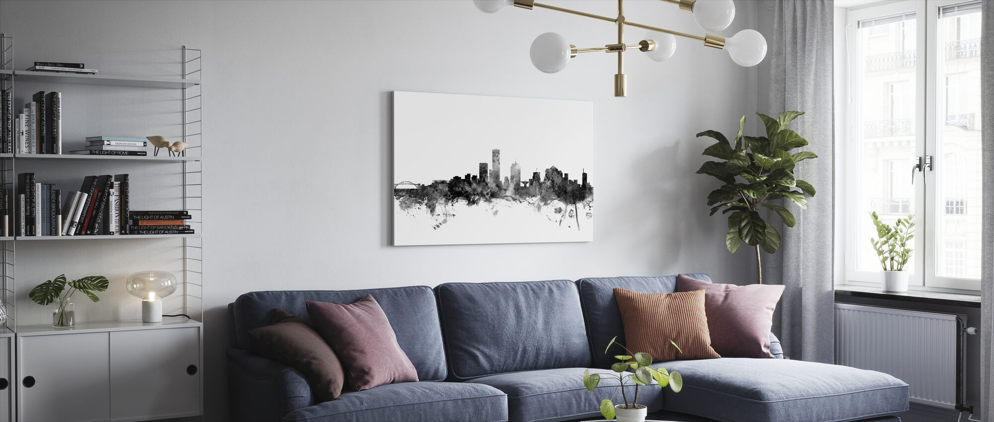 Milwaukee Wisconsin Skyline Black - Canvas print - Living Room
