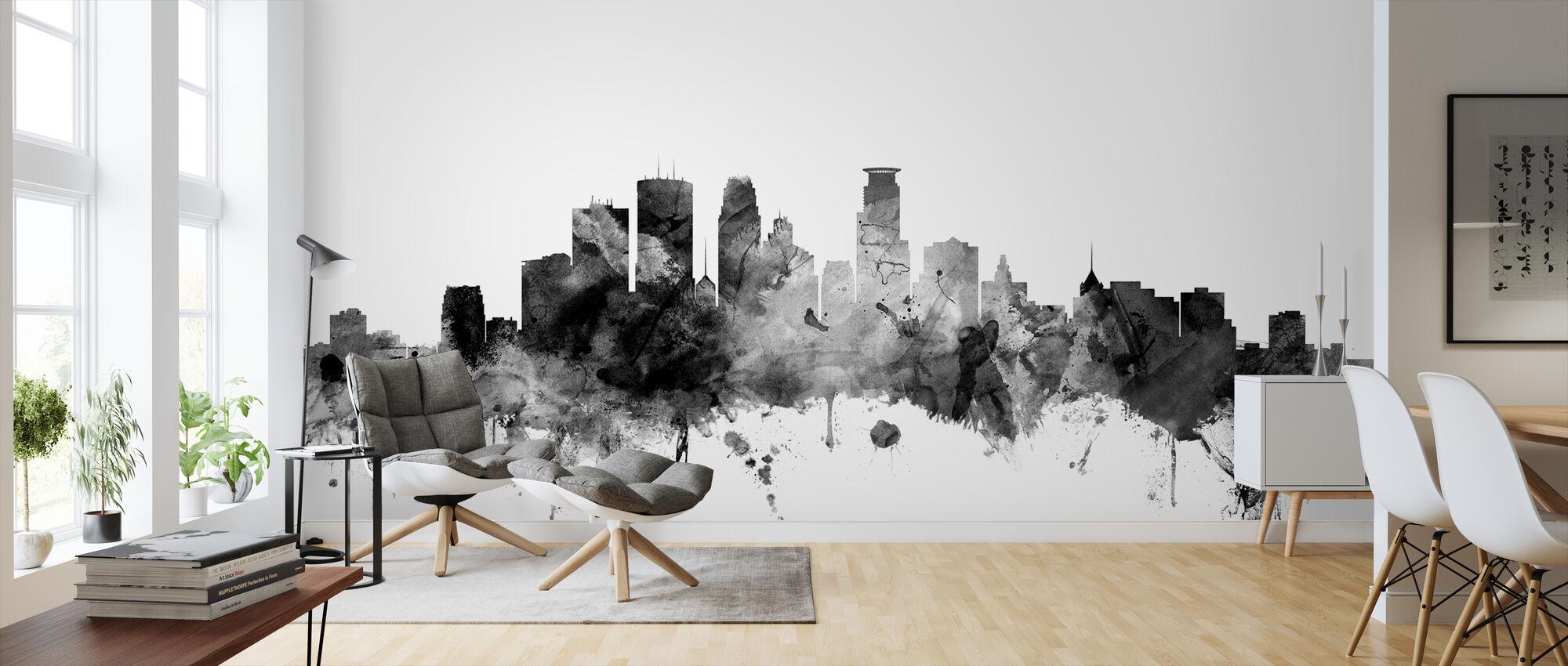 Minneapolis Minnesota Skyline Black - Wallpaper - Living Room