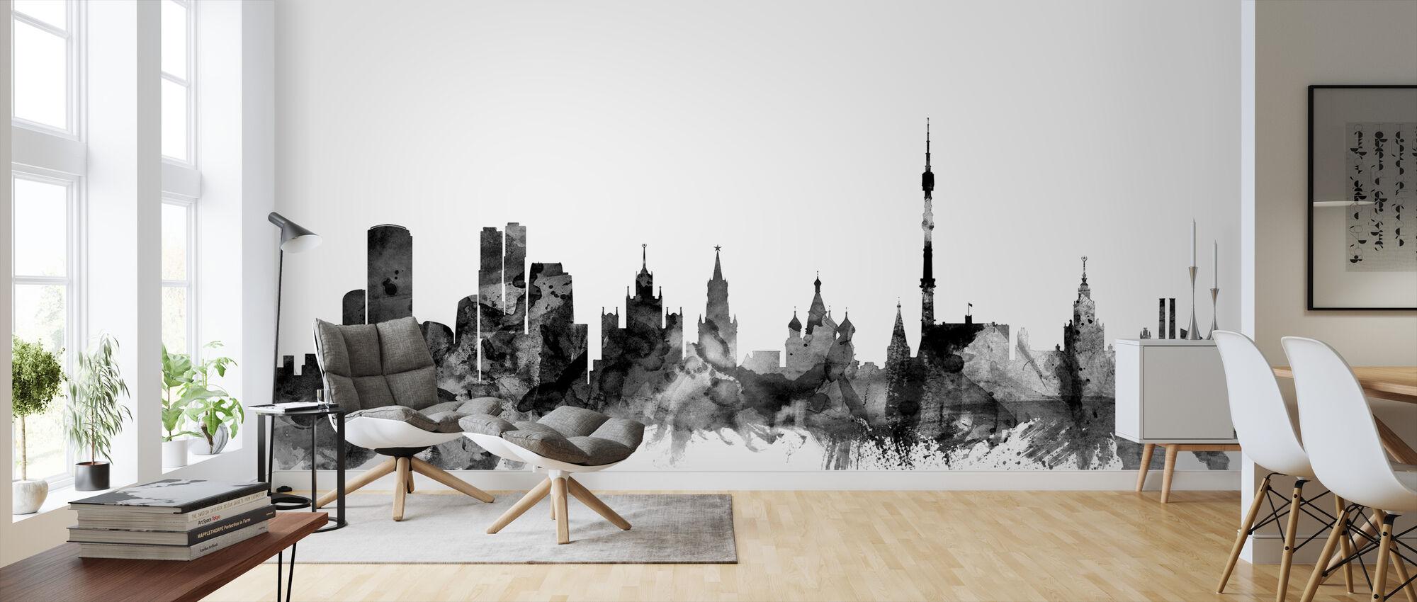 Moscow Skyline Zwart - Behang - Woonkamer